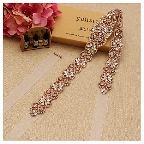 Yanstar Handmade Rose Gold Crystal Beads Rhinestone Bridal Wedding Belt Sash With White Organza For Bridal Wedding Party Gowns Dress by yanstar