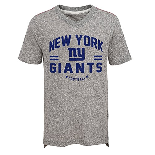 NFL New York Giants Youth Boys Heritage Short Sleeve Tri-Blend Tee Heather Grey, Youth Small(8) ()