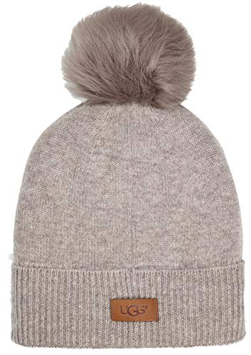 Sheepskin Hat Wool - UGG Women's Luxe Knit with Sheepskin Pom Hat Stone Heather One Size