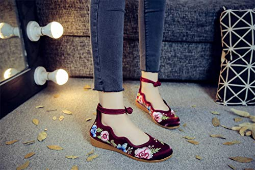 Walking Dance Shoes Claret Women Low and Shoes Ballet Heel Shoes Embroidered Flats Embroidered Bottom Espadrilles Mother Shoes Shoes Soft Cloth Leisure xX4XgnT