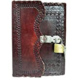 Fair Deal Handmade Prime Quality Leather journal with lock and Key Notebook Diary Sketchbook Thought Book 7x5 inches