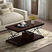 Milo Industrial Dark Walnut Finished Faux Wood Coffee Table with Black Iron Accents