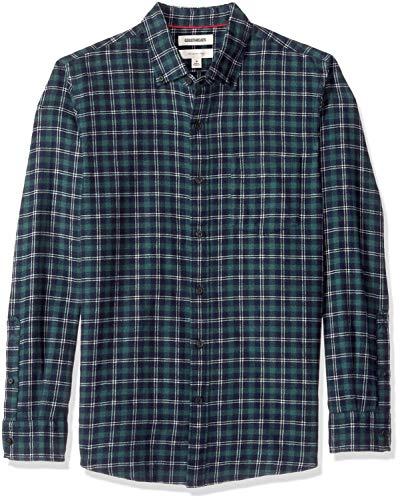 Goodthreads Men's Slim-Fit Long-Sleeve Plaid Brushed Heather Shirt, Navy Green, Large