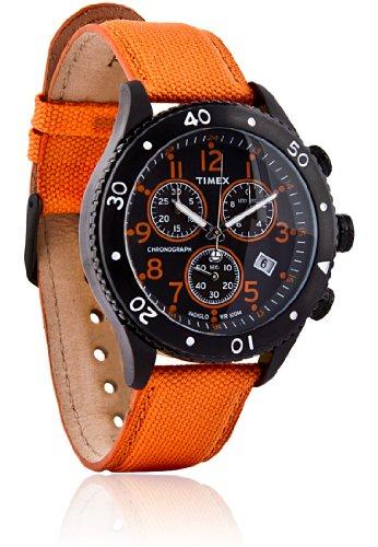 Timex T2N085 Mens T Series Orange Nylon Strap Chronograph Watch