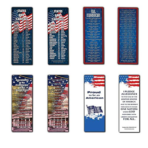 American Patriotic Bookmarks Cards (12-Pack) - States and Capitals - US Presidents Updated - Proud to be an American - Pledge of Allegiance - Constitution Amendments - Page Markers 4th of July Gifts
