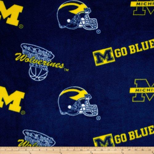 College University of Michigan Wolverines Navy Print Fleece Fabric By the Yard - Michigan Wolverines Fabric