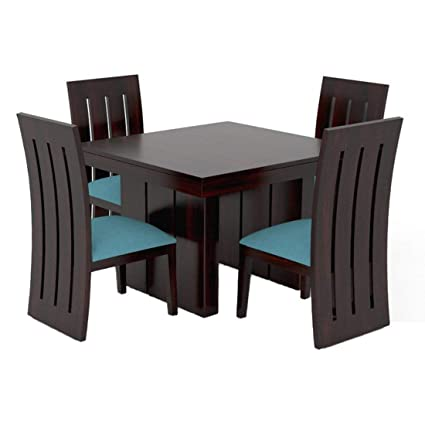 Pr Furniture Solid Sheesham Wood Dining Table 4 Seater 1 Table 4 Chairs Dining Room Furniture Finish Type Dark Walnut Finish Amazon In Home Kitchen