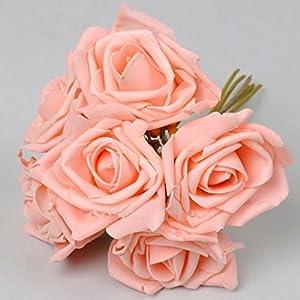 Kubert® Bunch of 6pcs Artificial Foam Rose Wedding Flowers Bridal Bridesmaid Bouquet DIY Craft Decoration 29