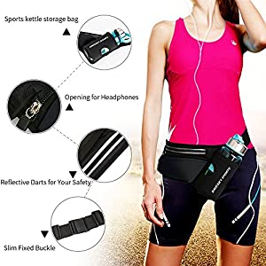 HAISSKY Running Waist Belt with Water Bottle Holder,Waterproof Sports Waist Pack with Reflective Strip for Jogging Running Walking Cycling Hiking Fit for Men and Women (Black)