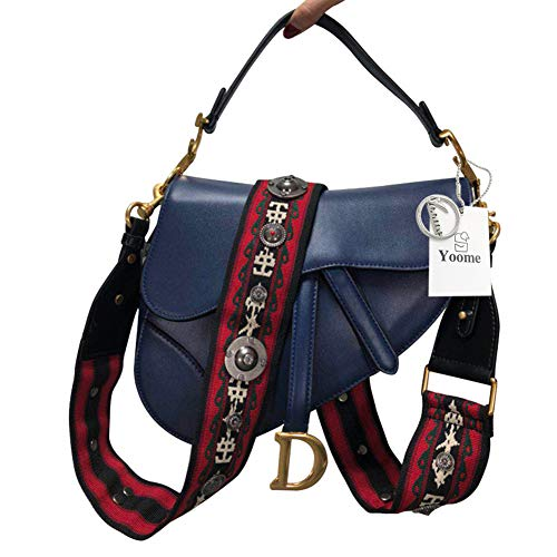 Yoome Women Designer Sac à bandoulière en selle Rivet Top Handle Crossbody Clutch Bleu