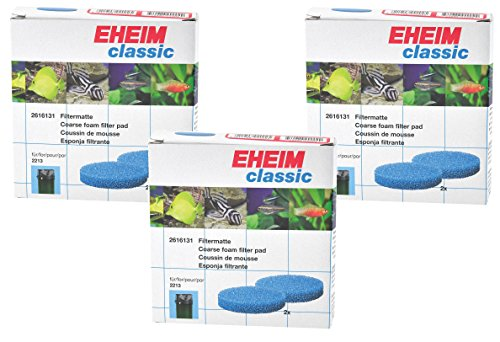 EHEIM Coarse Filter Pad (Blue) for Classic External Filter 2215 - 6 Total Filters (3 Packs with 2 per Pack)