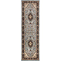 "Noble Medallion Light Blue Persian Floral Oriental Formal Traditional Rug 3x10 ( 2'7"" x 9'6"" Runner ) Easy to Clean Stain Fade Resistant Shed Free Modern Contemporary Soft Living Dining Room Rug"