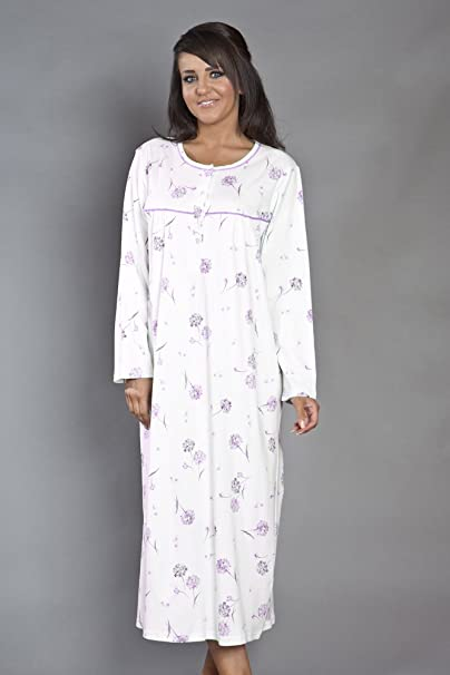 5e516597abefc Womens Ladies Nightwear Pure Pima Cotton Floral Printed Interlock  Nightdress