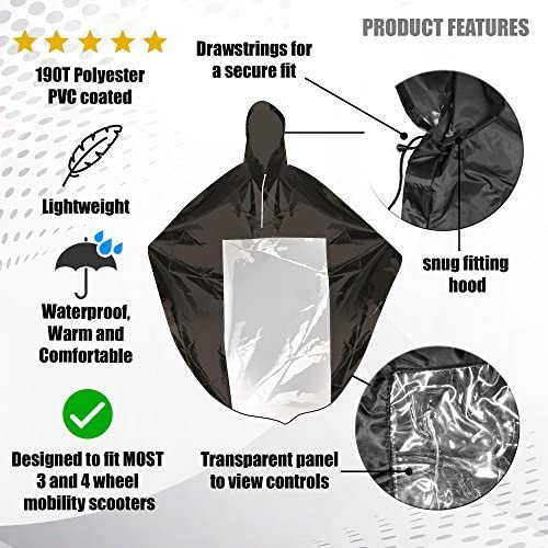 Waterproof Full Protection from Rain Dirt Splashes. Windproof /& Lightweight Universal Mobility Scooter Cape Cover with Hood /& Transparent Panel Durable /& Easy to Fold  Covers Rider /& Scooter