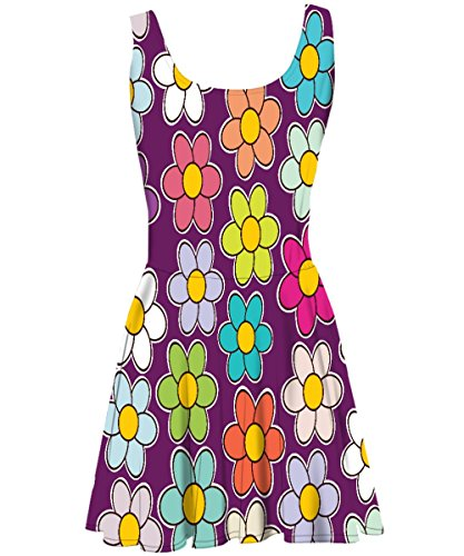 Snoogg - Robe - Cocktail - Sans Manche - Femme Multicolore Bigarré