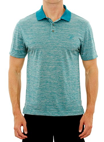 Beverly Hills Polo Club Men's Athletic Performance Sport Polo, Teal Heather, - Club Athletic