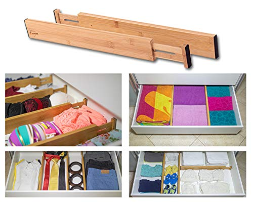 Drawer Dividers Bamboo Kitchen Organizers Set of 6 – Spring Loaded Drawer Divider Adjustable & Expandable Drawer…