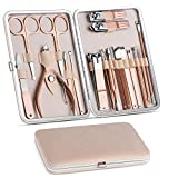 Manicure Set, Pedicure Kit, Nail Clippers, Professional Grooming Kit, Nail Tools 18 In 1 with Luxurious Travel Case For Men and Women 2020 Upgraded Version (Color: Rose Gold)
