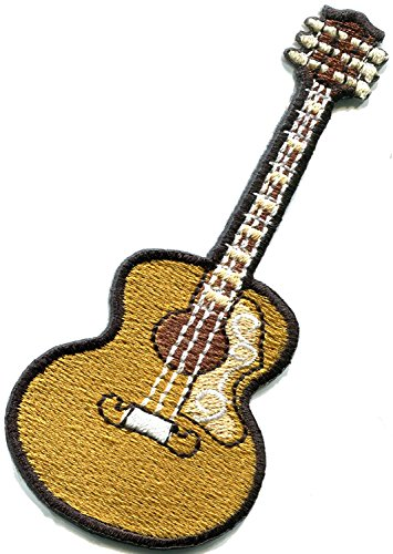 Guitar acoustic flamenco musical instrument embroidered applique iron-on patch beige new Measures 1.75 inches wide by 3.75 inches long.
