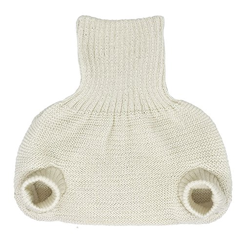 Pull on Diaper Cover for Baby Boys and Girls, 100% Organic Merino Wool Double Knit (50-56cm/ 0-3 Months, Natural)