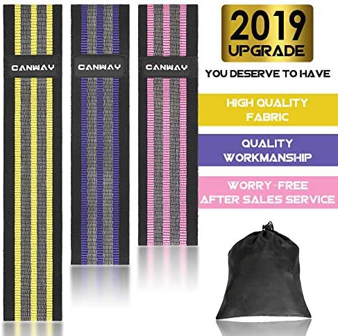 CANWAY Resistance Bands,Fabric Resistance Bands for Legs and Butt, Hip Booty Bands Workout Bands Sports Fitness Bands for Body Stretching, Yoga, Pilates, Muscle Training