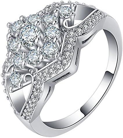 レディース 華麗 象嵌 ジルコニア 925 シルバー パーティー リング カジュアル 結婚式 婚約指輪 アクセサリー ジュエリー 彼女 誕生日 記念日 プレゼント 米国 8号