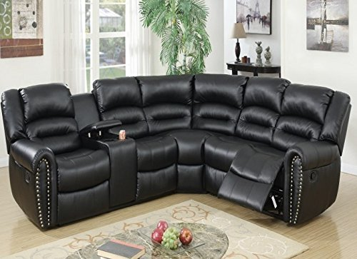 - Poundex Tamanna Black Bonded Leather Reclining Sectional Sofa
