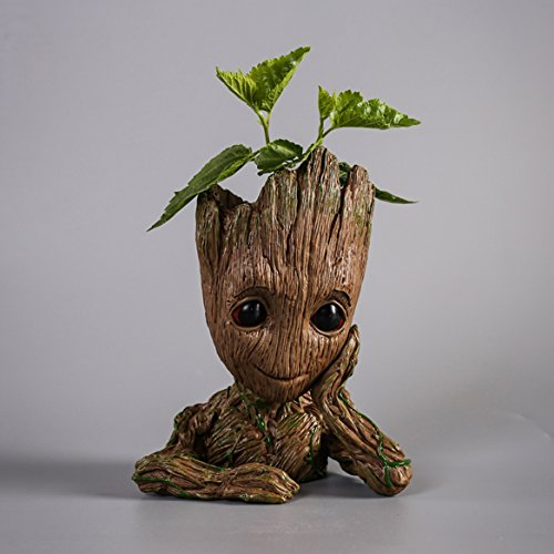 HEYFAIR Treeman Baby Groot Star-Lord Pen Cactus Succulent Planter Pot Container Multifunction Desk Organizer Accessories (Little Girl Planter)
