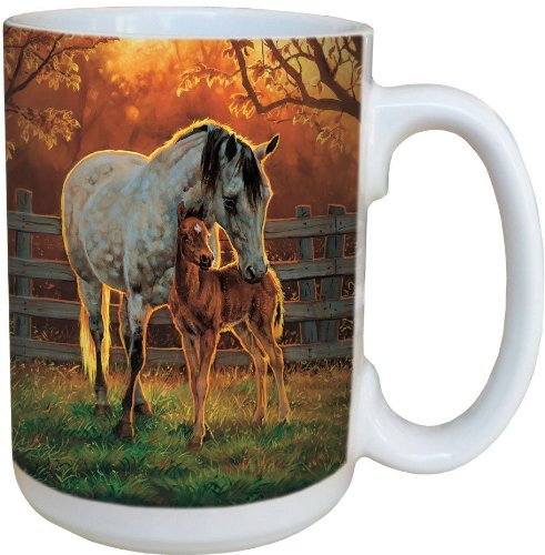 Christmas Collectible Theme Mug - Horse Quite Time Collectible Art Coffee Mug - Large 15-Ounce Ceramic Cup, Full Handle - Equestrian Gift for Horse Lovers - Tree-Free Greetings 79136