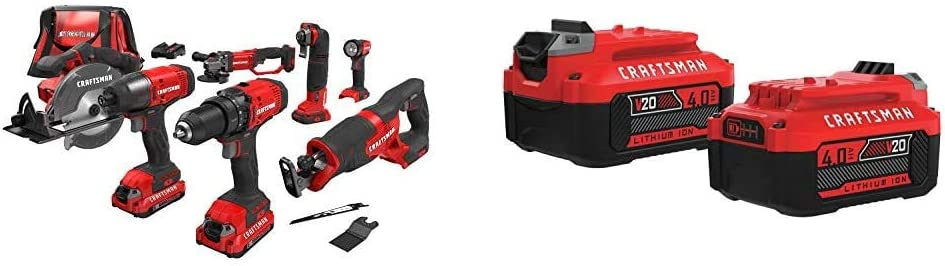CRAFTSMAN V20 Cordless Drill Combo Kit, 7 Tool (CMCK700D2) & V20 Lithium Ion Battery, 4.0-Amp Hour, 2 Pack (CMCB204-2)