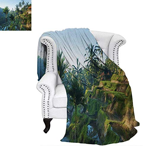 Homedecor Balinese Throw Blanket Terrace Rice Fields Palm Trees Traditional Farmhouse Morning Sunrise Bali Indonesia Swaddle Blanket 60 x 50 inch Green (Hat Balinese)