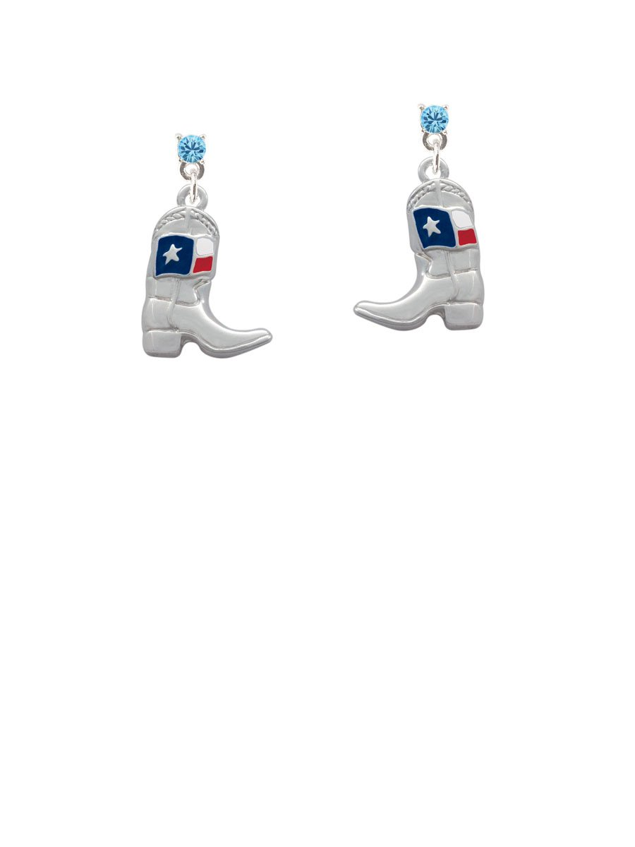 Cowboy Boot with Texas Flag Hot Blue Crystal Post Earrings