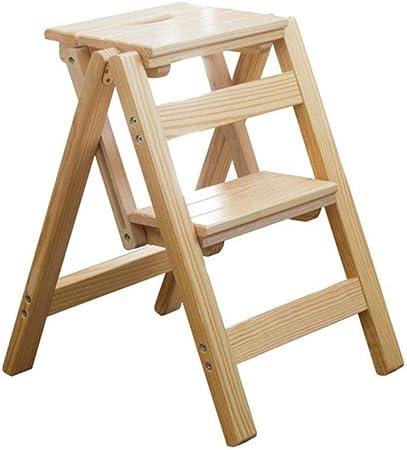 XITER Escaleras de Tijera 2 escaleras de Mano |Escalera de Madera Ligera con peldaño |Taburete Plegable Multiusos (Size : Wood Color): Amazon.es: Hogar