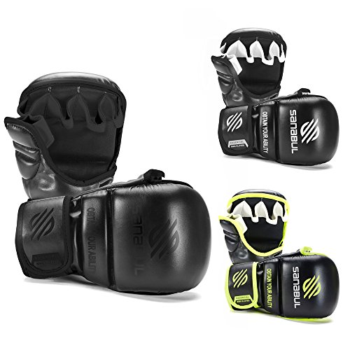 Sanabul Essential 7 oz Sparring MMA Gloves (AllBlack, Large/X-Large) ()