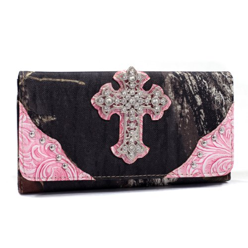 - Mossy Oak Camouflage Tri-fold Wallet with Rhinestone Cross & Floral Trim-Pink
