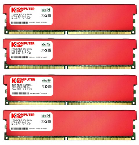 Mhz Desktop Ram 1066 (Komputerbay 8GB (4 X 2GB) DDR2 DIMM (240 pin) 1066MHz PC2-8500 Desktop RAM with Red Heatspreaders for extra cooling CL 5-7-7-25)