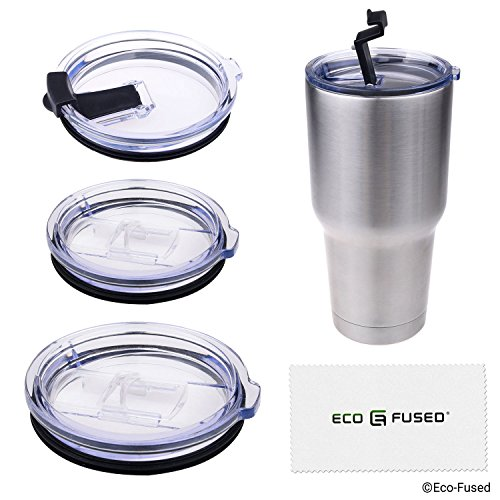 Eco-Fused replacement Spill and Leak Proof Lids compatible with 20 + 30 oz Yeti Ramblers - 4 Pack: 2 Slide Open (Hot Drinks), 2 Flip Open (Cold Drinks) - Suitable for Ozark Trails and Most Others