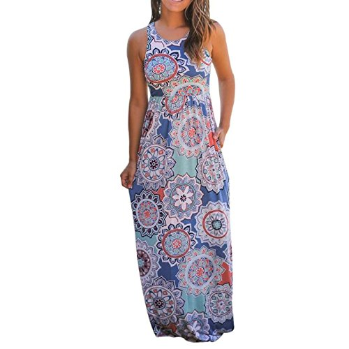 Yang-Yi Clearance, Hot Women Spring Summer Sleeveless Floral Print Loose Maxi Dress With Pockets (Multicolor, L) by Yang-Yi
