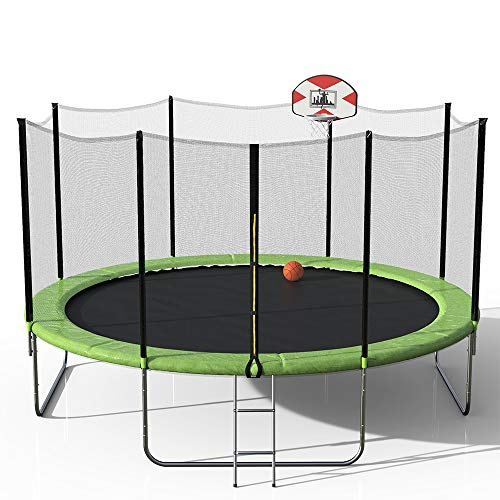 Lonma 14-Feet Round Trampoline with Safety Enclosure, Basketball Hoop and Ladder