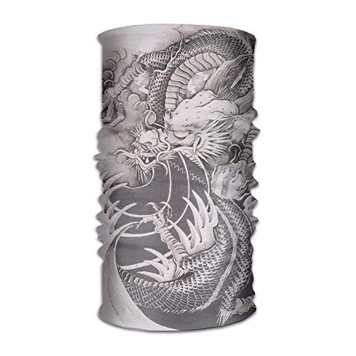 Customize Fashion Neck Gaiter Dragon Tattoos Seamless Headbands Kerchief Multifunctional Headscarf Hair Wraps for Hiking Running Fishing Headscarfs Face Mask ()