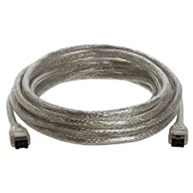 15Ft FireWire 800, i.link, IEEE-1394 9Pin to 9Pin Cable, Clear