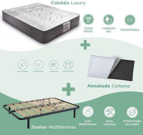 Dreaming Kamahaus Pack Somier Multiláminas + Colchón Luxury Visco Tencel + Almohada Carbono| 135 x 200 cm: Amazon.es: Hogar