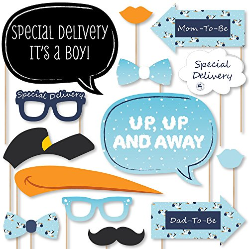 Big Dot of Happiness Boy Special Delivery - Blue It's A Boy Stork Baby Shower Photo Booth Props Kit - 20 Count