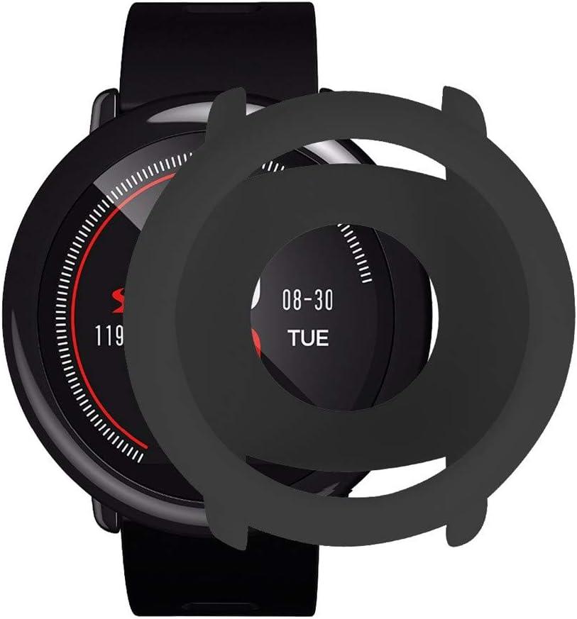 12shage Reemplazo Suave TPU Completo Cubierta de Silicona Protectora para Xiaomi Huami AMAZFIT Pace Reloj Inteligente (Negro)