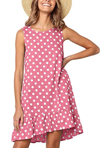 (CHIC DIARY Womens Sleeveless Casual Swing T-Shirt Dress Ruffle Polka Dot Printed Sundress with Pockets (Pink, S))