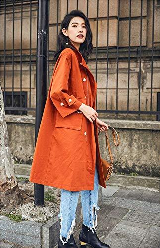 Con Otoño Abrigos Elegantes Anchas Vintage Naranja Manga Larga Saoye Parkas Chaqueta Mujer Casual Outerwear Collar Largos Fashion Gabardina Bolsillos High Primavera Ropa Botonadura gwXqUz0