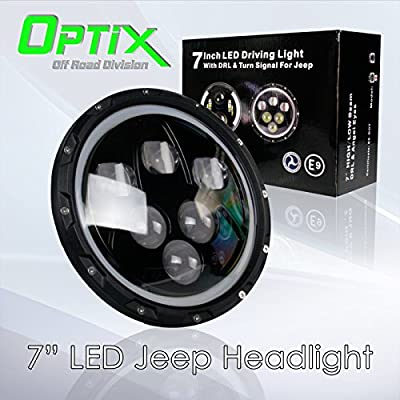 "Optix 1x 7"" Inch 60W CREE LED Projector Headlight High Low Beam with Full Halo Angel Eyes White DRL for 1997-2016 Jeep Wrangler JK TJ LJ Sahara Rubicon Sport Unlimited"