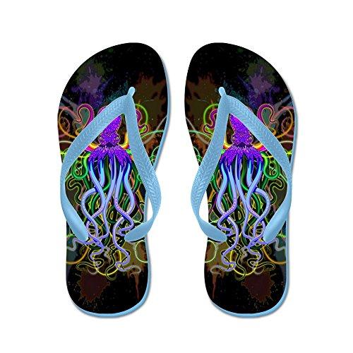 Cafepress Octopus Psychedelic Luminescence - Flip Flops, Grappige String Sandalen, Strand Sandalen Caribbean Blue