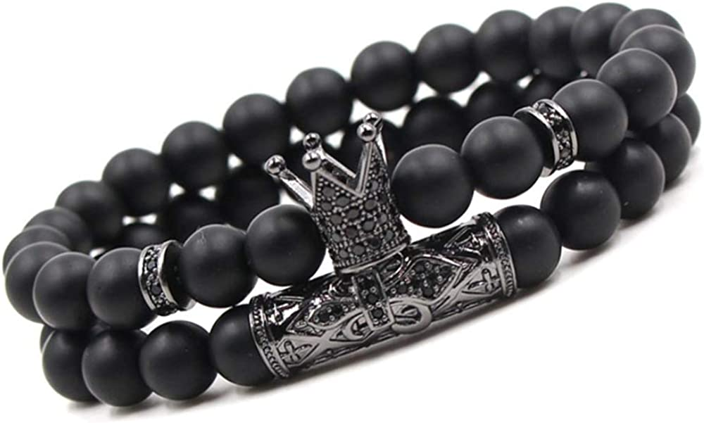 KWHY Black Matte Beads Bracelets 8mm Onyx Stone Bracelets Sets Charm King Crown for Women Men Jewelry
