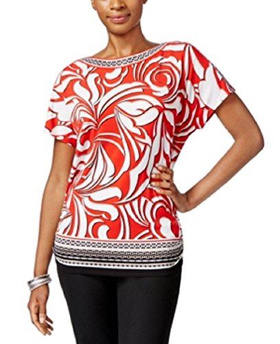 JM Collection Petite Short-Sleeve Boat-Neck Gallery Rose PS -